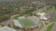 WS AERIAL View of flyover Fawcett Stadium at Pro Football Hall of Fame / Canton, Ohio, United States