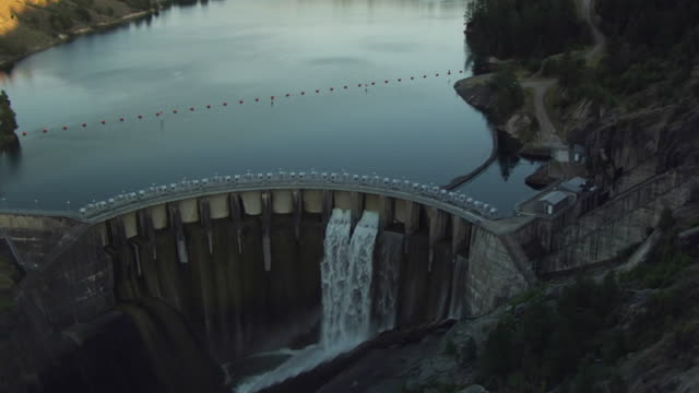WS AERIAL TD View of flyover Kerr Dam at Flathead Lake / Montana, United States