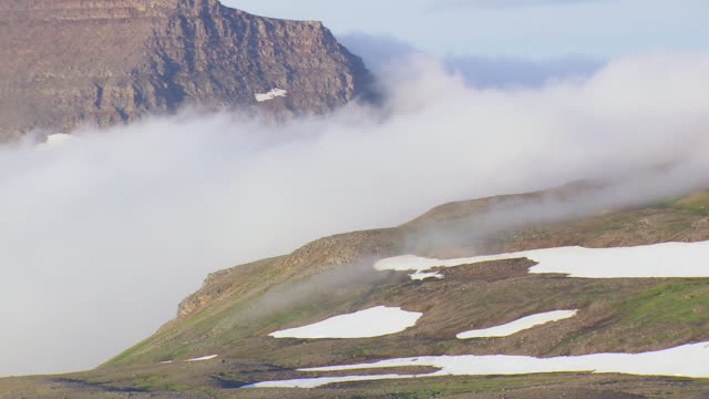 WS AREAIL View of Fog moving over Hornstrandir / Iceland