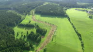 WS AERIAL View of forest, farm field and houses / Germany