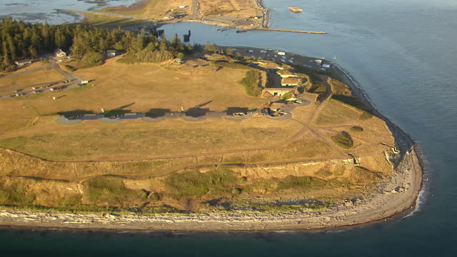 WS AERIAL View of Fort Casey on coast of Whidbey Island / Washington, United States