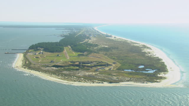 WS AERIAL View of Fort Morgan at Mobile Bay / Alabama, United States