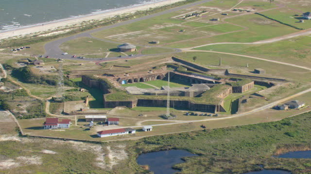 WS AERIAL View of Fort Morgan inside of fort / Alabama, United States