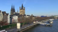WS View of Frankenwerft, church Gross St. Martin and Dom (Cathedral) / Cologne, North Rhine Westphalia, Germany