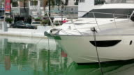 MS View of Front part of motor boat at Puerto Banus near Marbella / Puerto Banus, Andalusia, Spain