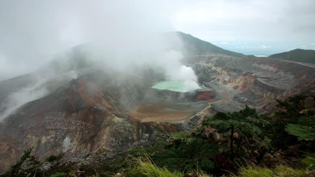 WS T/L View of fumarole activity at crater of poas volcano / Poas, San Jose, Costa Rica