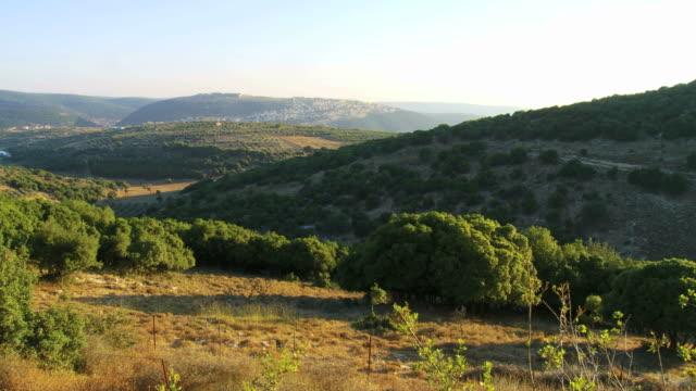 WS PAN View of galillea mountains near lebanese border / Matat, Galillea, Israel