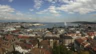 T/L WS HA View of Geneva city and lake Geneva with Jet d'Eau, Geneva, Switzerland