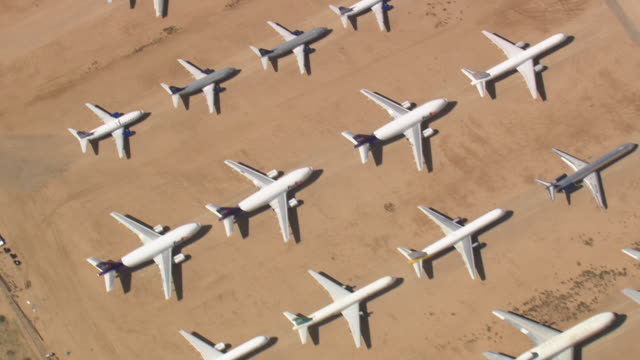 WS AERIAL View of George Air force Base (Aircraft graveyard, but not  Aircraft Graveyard) / California, United States