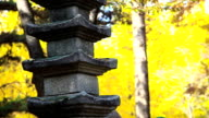 View of Ginkgo Tree and Doltap (Stacked stones) in Fall