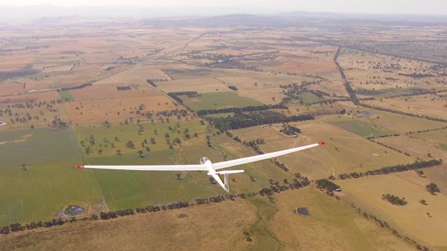WS AERIAL View of glider plane / Macarthur, Victoria, Australia