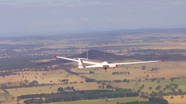 MS AERIAL ZO View of glider plane / Macarthur, Victoria, Australia