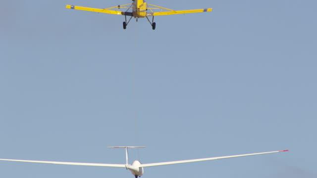 MS AERIAL TS View of glider plane / Macarthur, Victoria, Australia
