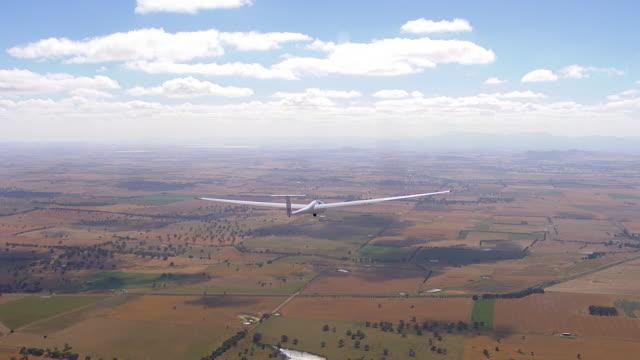 MS AERIAL View of glider plane / Macarthur, Victoria, Australia