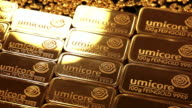 MS View of gold ingots / Hanau, Hesse, Germany