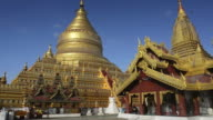 WS LA View of Golden Stupa of Shwezigon Pagoda / Bagan, Mandalay Division, Myanmar