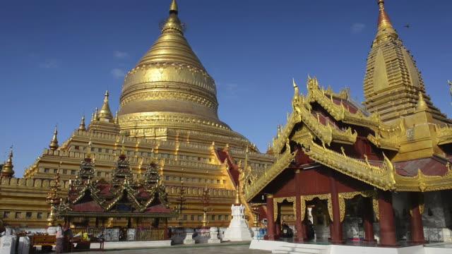 WS LA View of Golden Stupa of Shwezigon Pagoda / Bagan, Mandalay Division, Myanmar