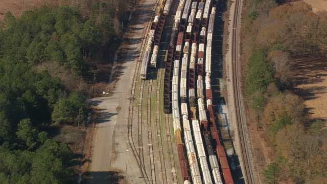 WS AERIAL View of Goods train of Gordon railways / Georgia, United States