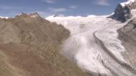 WS AERIAL ZI View of gorner glacier and Monte Rosa Lyskamm with Grenz Glacier on right / Gorner Glacier, Valais, Switzerland