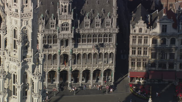 MS AERIAL View of Grand Place in city / Brussels, Belgium
