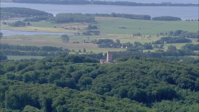 MS AERIAL View of granitz hunting chateau / Ruegen, Mecklenburg-Vorpommern, Germany