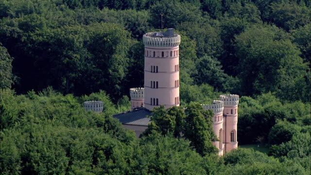 MS AERIAL DS ZI View of granitz hunting chateau / Ruegen, Mecklenburg-Vorpommern, Germany