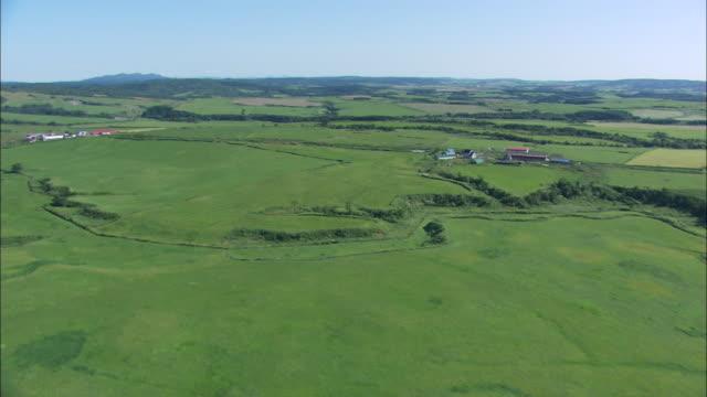 WS POV AERIAL View of  green field  / Hokkaido, Japan