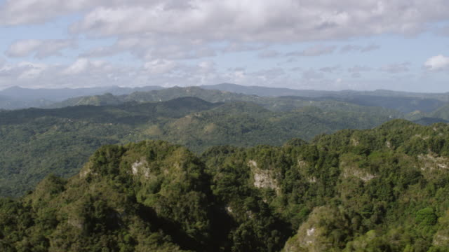 WS TD AERIAL POV View of green mogote peaks in Arecibo region / Arecibo, Puerto Rico, United States