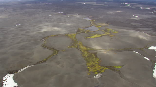 WS AERIAL ZI View of green patterns on lava plain / Iceland