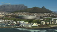 WS AERIAL TA View of Green Point and Cape Town Stadium / Cape Town, Western Cape, South Africa