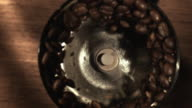 MS SLO MO View of grinding Coffee / Los Angeles, CA, United States