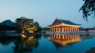 WS T/L View of Gyeonghoeru in Gyeongbokgung Palace at day to night / Seoul, South Korea