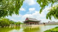 View of Gyeonghoeru pavilion (National treasure of South Korea 224) in Gyeongbokgung palace (Royal palace of the Joseon dynasty, national treasure) in summer