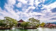 View of Gyeonghoeru pavilion (National Treasures of South Korea 224) in Gyeongbokgung Royal Palace (Korean National Treasure 223) and Cherry Blossoms