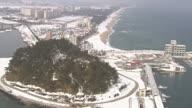 WS AERIAL View of Gyeongpo beach / Gangneung, Gangwon do, South Korea