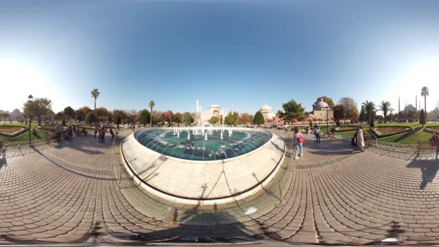 360 VR view of Hagia Sophia and Sultanahmet Square in Istanbul Turkey October 20 2017 There are many tourist visiting everyday to historical famous...