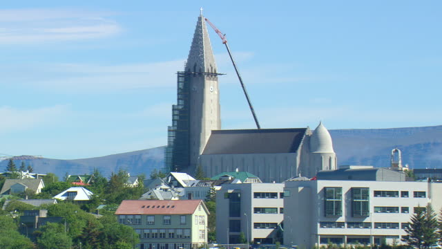 MS AERIAL ZO View of Hallgrims Church in city / Iceland