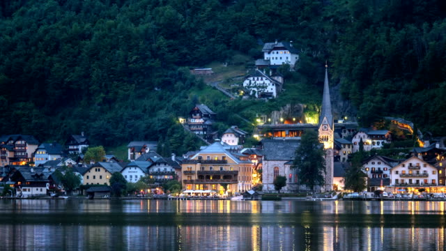 View of Hallstatt across lake in the afternoon - evening
