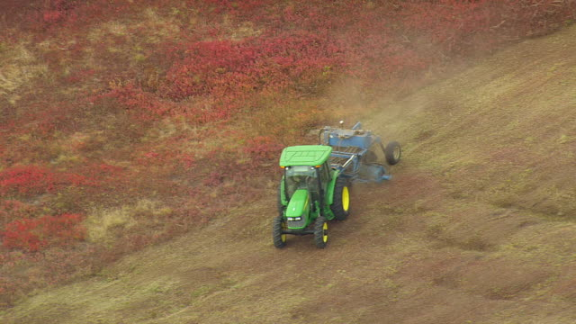 WS ARIEAL View of Harvesting at field / Maine, United States
