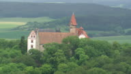 WS AERIAL DS ZI ZO View of Heldburg castle / Germany