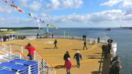 WS View of Helipad on ferry ship with enjoying people at Kieler Forde / Kiel, Schleswig-Holstein, Germany