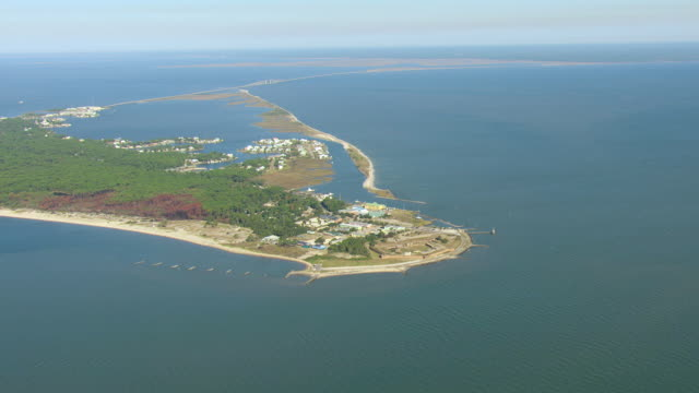 WS AERIAL View of high island and surrounding ocean / Dauphin Island, Alabama, United States