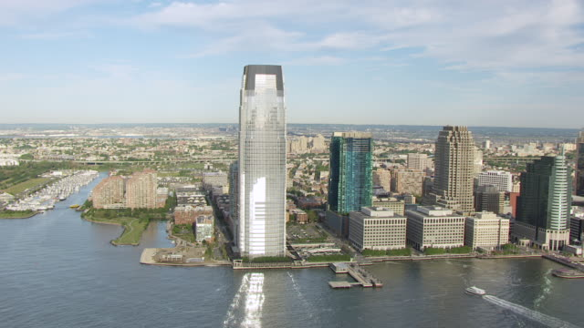 WS AERIAL ZI View of high rise buildings in downtown / Jersey City, New Jersey, United States