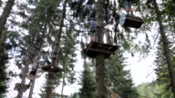 MS TU View of high rope course at sollereck  / Oberstdorf, Bavaria, Germany