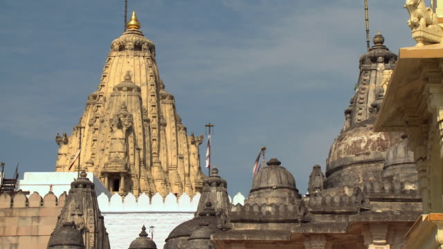 MS View of high section of temple with flag on roof / Rajkot, India