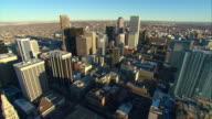 WS POV AERIAL View of high-rise buildings of downtown Denver / Denver, Colorado, USA