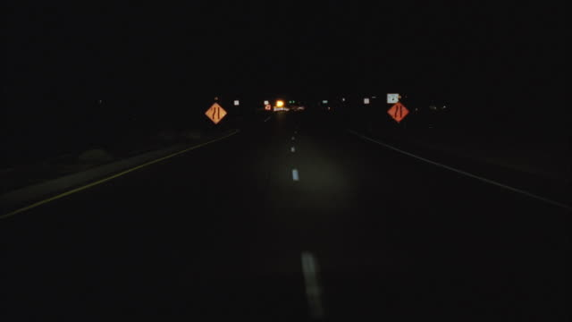 WS POV View of highway at night