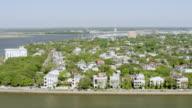 WS AERIAL POV View of historic houses, church and bridge / Charleston, South Carolina, United States