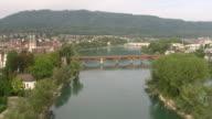 WS AERIAL View of Hochrhein river and village of bad sackingen, Germany with village of Stein, Switzerland / Bad Sackingen, Baden Württemberg, Germany