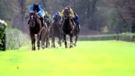 WS SLO MO View of Horses gallop down home stretch / Krefeld, North Rhine Westphalia, Germany